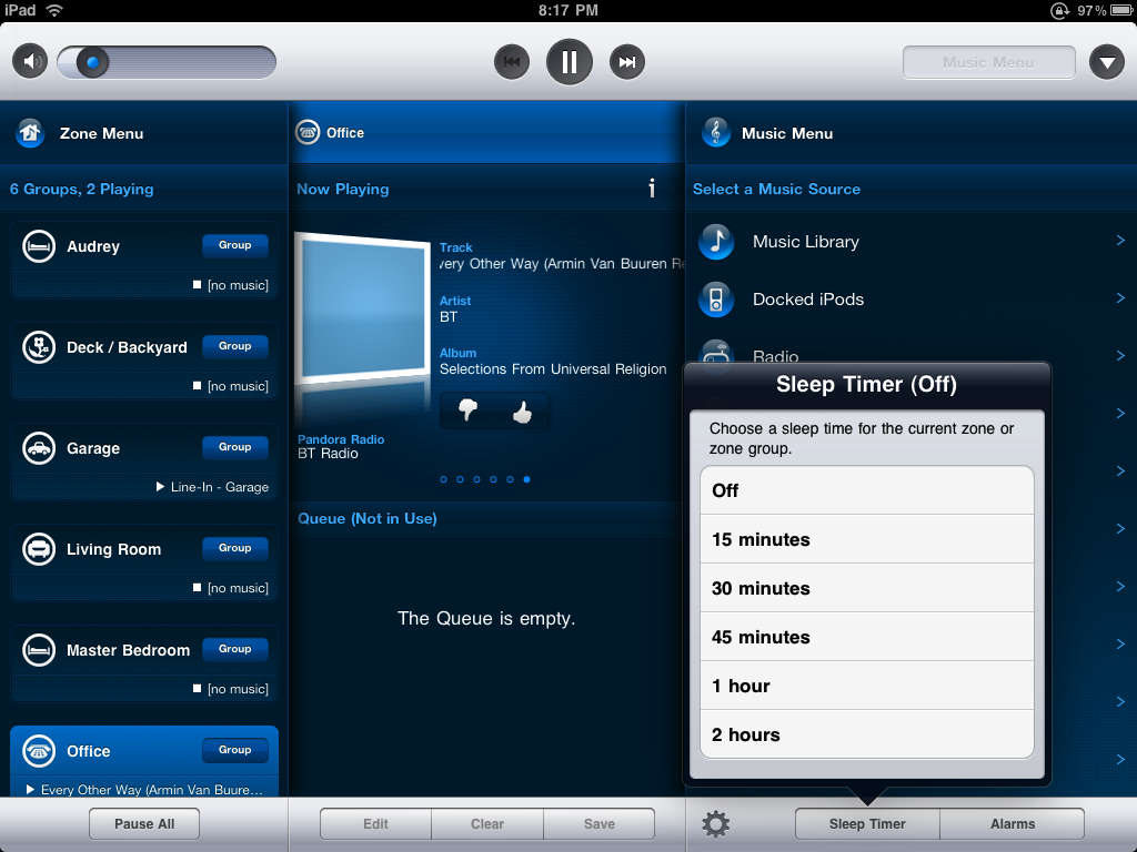 Sonos iPad App Zone Sleep